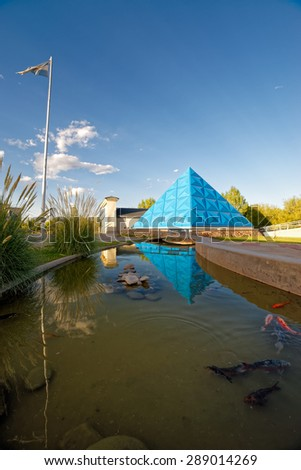 MALARGUE, ARGENTINA - JANUARY 4: Planetarium dome on January 4, 2015 in Mendoza, Argentina. The planetarium and the cosmic rays observatory Pier Auger attract scientific tourism to this remote town - stock photo