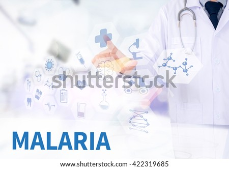 MALARIA Medicine doctor working with computer interface as medical - stock photo