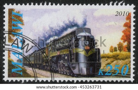 "MALAWI - CIRCA 2010: A post stamp printed in Malawi shows a series of images ""History of rail transport"", circa 2010"