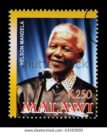 MALAWI - CIRCA 2004: A postage stamp printed in Malawi showing Nelson Mandela, circa 2004 - stock photo