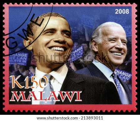 MALAWI - CIRCA 2008: A used Postage Stamp from Malawi depicting an image of both Barack Obama (the 44th president of the United States of America) and Joe Biden (Vice President), circa 2008. - stock photo
