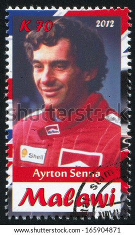 Malawi - CIRCA 2012: stamp printed by Malawi, shows Ayrton Senna, circa 2012 - stock photo