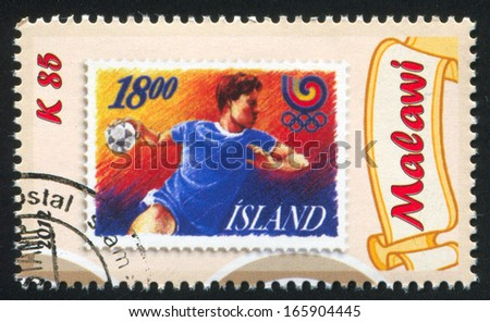 MALAWI - CIRCA 2012: stamp printed by Malawi, shows Handball, circa 2012