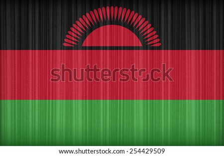 Malawi flag pattern on the fabric curtain,vintage style - stock photo