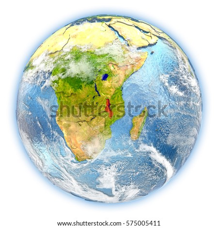 Malawi highlighted in red on planet Earth. 3D illustration isolated on white background. Elements of this image furnished by NASA.