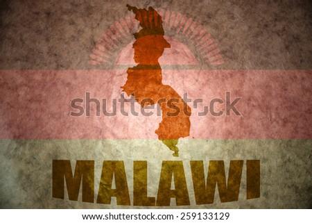 malawi map on a vintage malawi flag background - stock photo