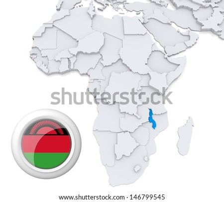 Malawi with national flag - stock photo