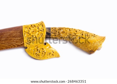 malay traditional art knife on isolated background - stock photo
