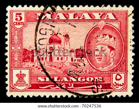 MALAYA - CIRCA 1947: A stamp printed in Malaya shows image of a mosque in the state of Selangor, series, circa 1947 - stock photo