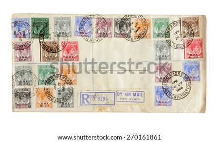 MALAYA - CIRCA 1938: Pink color postage stamp printed in Penang (Malaya Straits Settlement) with illustrative portrait image of King George VI. - stock photo