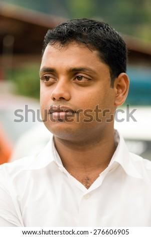 Malayali Bridegroom closeup Trichur, Kerala, south India, Asia  - stock photo