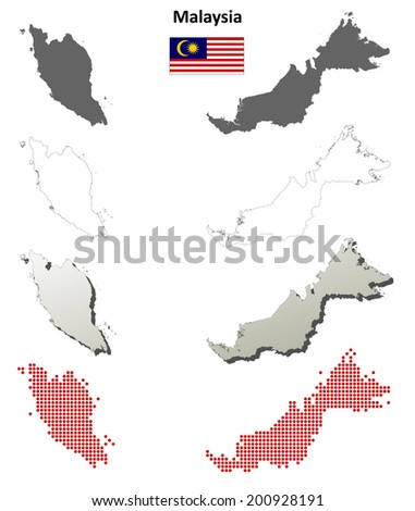 Malaysia blank detailed outline map set - jpg version - stock photo