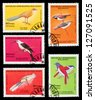 MALAYSIA - CIRCA 1986: A set of postage stamps printed in MALAYSIA shows birds, series, circa 1986 - stock photo