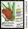 MALAYSIA - CIRCA 1986: a stamp printed in Malaysia shows African Oil Palm, Elaeis Guineensis, Plant, circa 1986 - stock photo