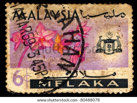 MALAYSIA - CIRCA 1969: A stamp printed in Malaysia shows Large Purple Orchid (Spathoglottis plicata ), series, circa 1969
