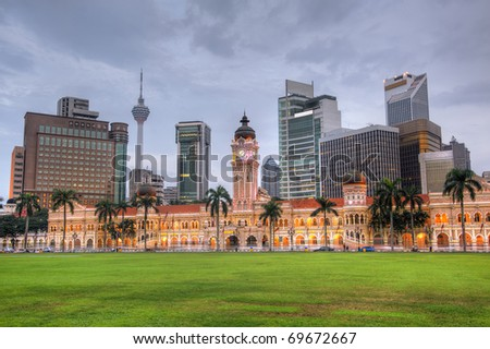 Malaysia city skyline with famous buildings, towers and skyscraper in Kuala Lumpur, Asia. - stock photo