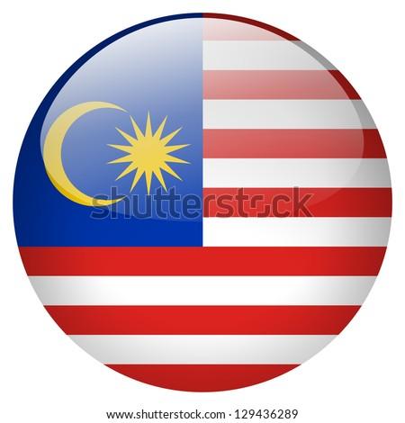 Malaysia flag button - stock photo