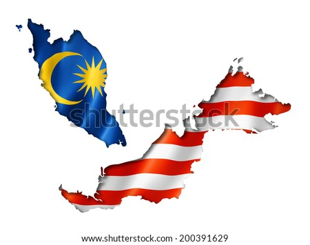 Malaysia flag map, three dimensional render, isolated on white - stock photo