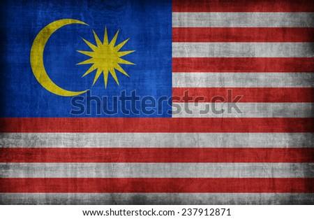 Malaysia flag pattern ,retro vintage style - stock photo