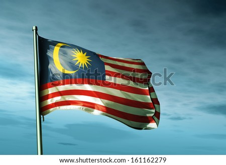 Malaysia flag waving in the evening - stock photo