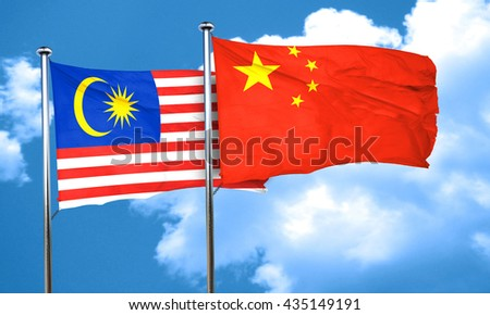 Malaysia flag with China flag, 3D rendering