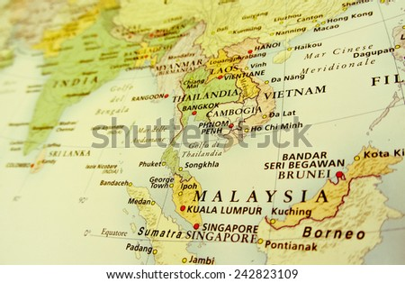 Malaysia: geographical view (Geographical view altered on colors/perspective and focus on the edge. Names can be partial or incomplete)