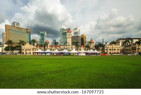 Malaysia Independence Square with panorama view of city skylines and skyscrapers. - stock photo