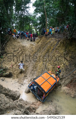 MALAYSIA JUNGLE - NOVEMBER 29, 2016: Rain forest Challenge jungle auto competition. RFC prologue.