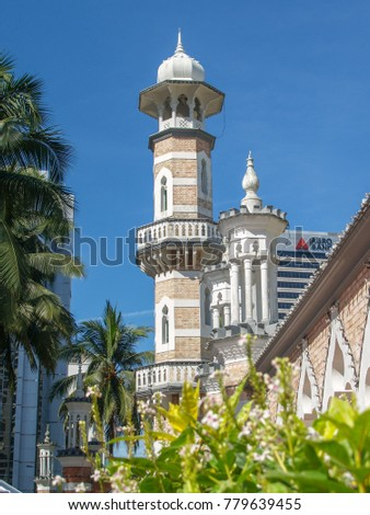 Malaysia-May2010: Jamek Mosque, officially Sultan Abdul Samad Jamek Mosque, is one of the oldest mosques in Kuala Lumpur, Malaysia.