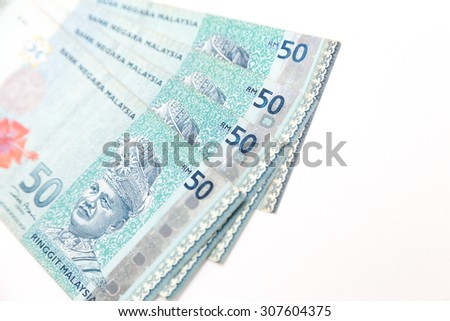 malaysia money on white background