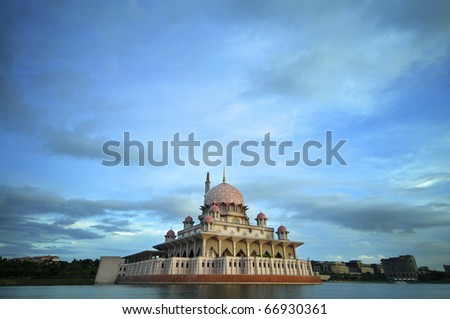 Malaysia Putrajaya Putra Mosque in dusk - stock photo