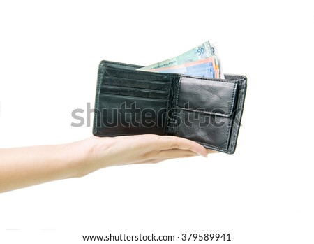 Malaysia Ringkit in purse or wallet on white background