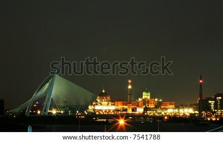 Malaysia's administrative capital of Putrajaya at night. - stock photo