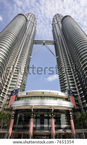 Malaysia's landmark Petronas Twin Towers. - stock photo