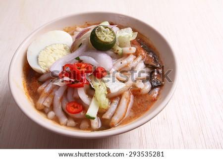 Malaysian Assam Laksa Noodles dish - stock photo