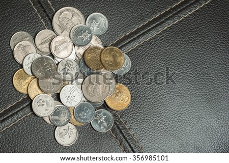 Malaysian coins on classic leather bacground with copy space on right. - stock photo