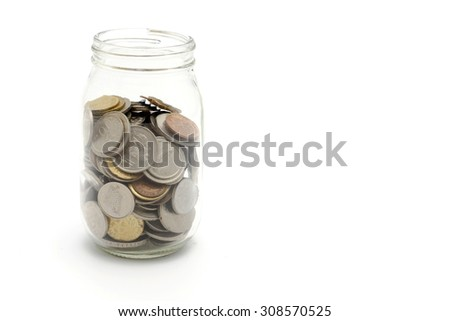 Malaysian coins on small jars isolated on white
