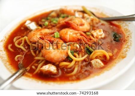 Malaysian cuisine, prawn noodle - stock photo