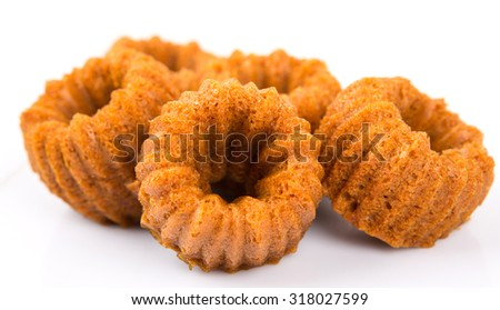 Malaysian dessert dish steamed caramelized sweet and soft cake, locally known as Kuih Apam Gula Hangus over white background