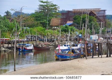 Malaysian Fishing Village - stock photo