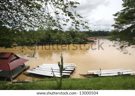 Malaysian jetty on a Rain-forest river
