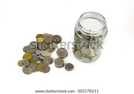 Malaysian Ringgit coins in glass jar and scattered outside for emergency fund, retirement plan, house, education, future. Isolated on white background