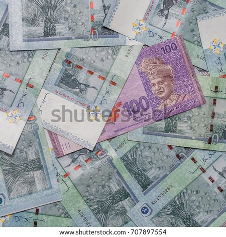 Malaysian Ringgit Currency On Pattern Background Stock Photo