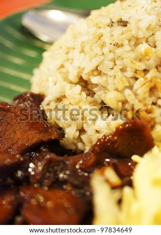 Malaysian traditional dishes: Fried Rice with Stir beef - stock photo