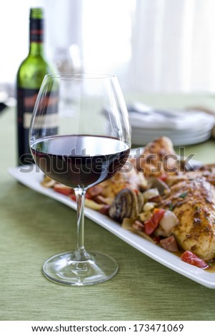 Malbec Terra Rosa wine in glass on table with platter of food