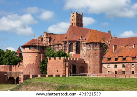 Malbork Castle in Poland from the east side, medieval fortress built by the Teutonic Knights Order
