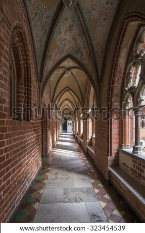 MALBORK, POLAND - SEPTEMBER 18, 2015: Arch in the Malbork Castle, built in the 13th Century by the Knights of the Teutonic Order.