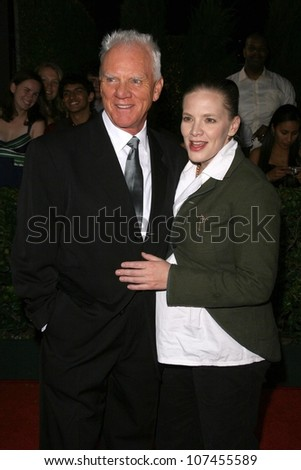 Malcolm McDowell and wife Kelley  at 'Heroes Countdown to the Premiere' Party. Edison Lounge Downtown, Los Angeles, CA. 09-07-08