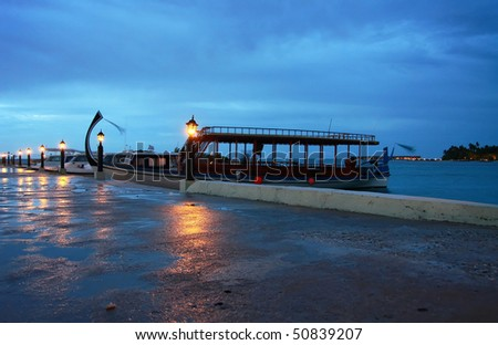 Maldives after dusk - stock photo