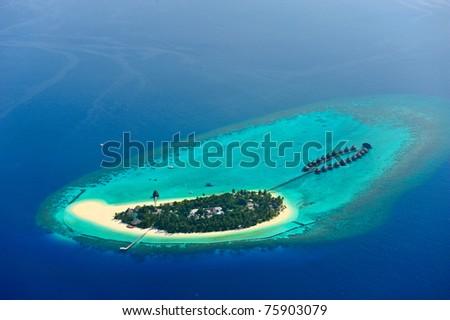 Maldives atoll island - stock photo
